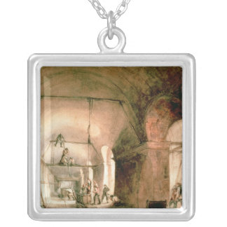Building the Thames Tunnel, , c.1830 Silver Plated Necklace