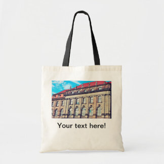 Building with statues canvas bag
