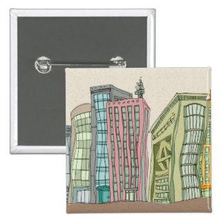 Buildings 15 Cm Square Badge