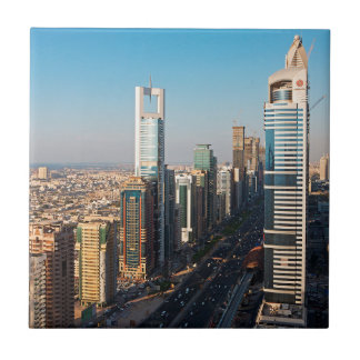 Buildings Along Sheikh Zayed Road, Dubai Small Square Tile
