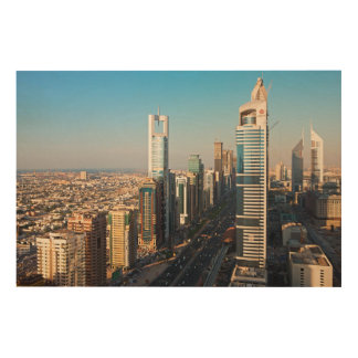 Buildings Along Sheikh Zayed Road, Dubai Wood Wall Decor