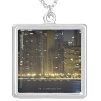 Buildings along the Chicago lakefront at night, Silver Plated Necklace