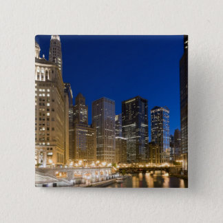 Buildings along the Chicago Riverfront at dusk. 15 Cm Square Badge