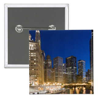 Buildings along the Chicago Riverfront at dusk. 15 Cm Square Badge