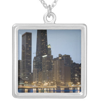 Buildings along the downtown Chicago lakefront Silver Plated Necklace
