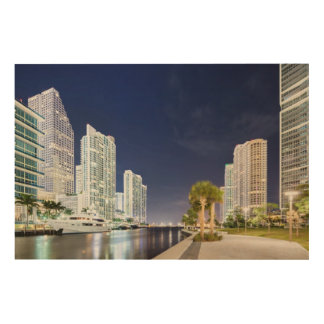 Buildings along the Miami River Riverwalk Wood Print
