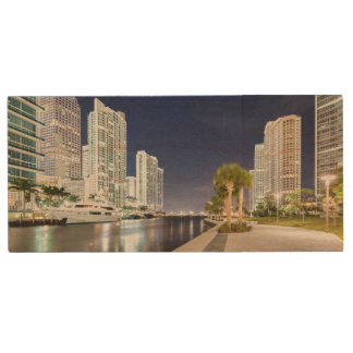 Buildings along the Miami River Riverwalk Wood USB 2.0 Flash Drive