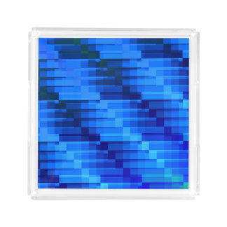 Buildings At Night Blue Modern Abstract Acrylic Tray