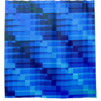Buildings At Night Blue Modern Abstract Shower Curtain