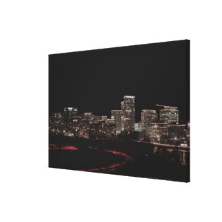 Buildings in a city lit up at night, Washington Canvas Print