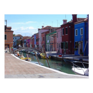 Buildings in Burano, Venice Postcard