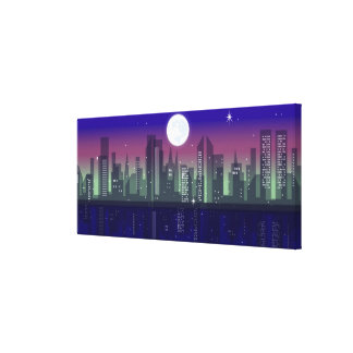 Buildings lit up at night canvas print