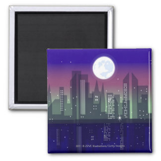 Buildings lit up at night square magnet
