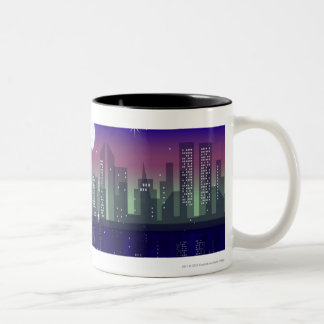 Buildings lit up at night Two-Tone coffee mug