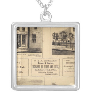 Buildings, Oil City, Franklin, Tarr Farm Silver Plated Necklace