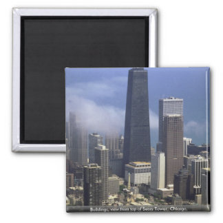Buildings, view from top of Sears Tower, Chicago, Square Magnet