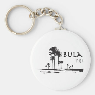 Bula Fiji Palm Tree Graphic Basic Round Button Key Ring