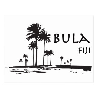 Bula Fiji Palm Tree Graphic Postcard