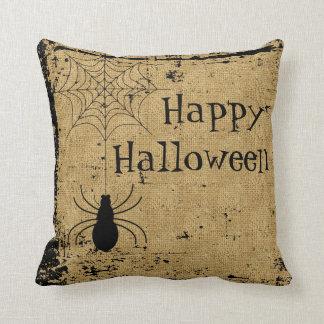 Bulap Brown Halloween Spider Spider Web Distressed Cushion