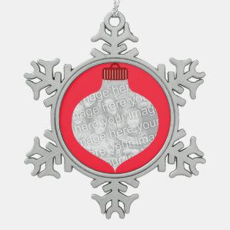 Bulb Shape for Photo Snowflake Pewter Christmas Ornament
