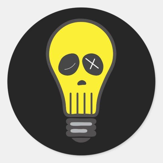 Bulb Skull (Colour) Classic Round Sticker