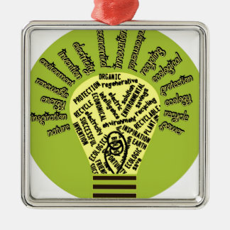 Bulb with ecological terms christmas ornament