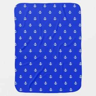Bule anchor polkdots stroller blanket