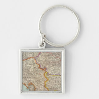 Bulgaria and Serbia Silver-Colored Square Key Ring