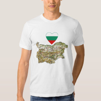 Bulgaria Flag Heart and Map T-Shirt