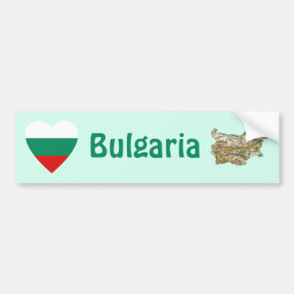 Bulgaria Flag Heart + Map Bumper Sticker