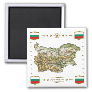 Bulgaria Map + Flags Magnet