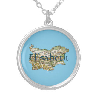 Bulgaria Map + Name Necklace
