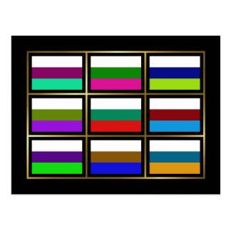 Bulgaria Multihue Flags Postcard