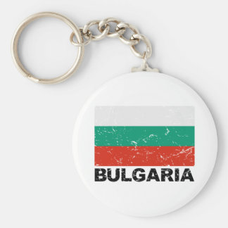 Bulgaria Vintage Flag Basic Round Button Key Ring