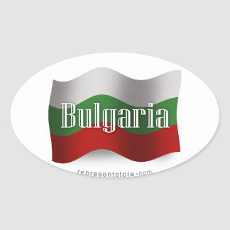 Bulgaria Waving Flag Oval Sticker