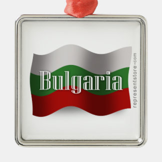 Bulgaria Waving Flag Silver-Colored Square Decoration