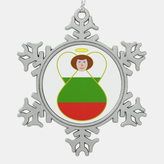 Bulgarian Flag Angel Snowflake Pewter Christmas Ornament