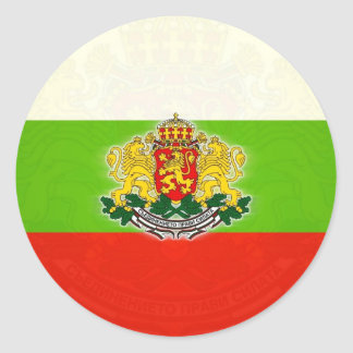 Bulgarian Flag with Coat of Arms Classic Round Sticker