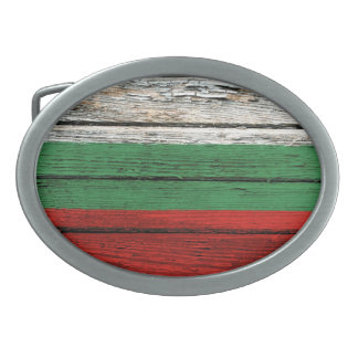 Bulgarian Flag with Rough Wood Grain Effect Oval Belt Buckle