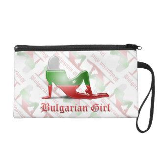 Bulgarian Girl Silhouette Flag Wristlet Clutches