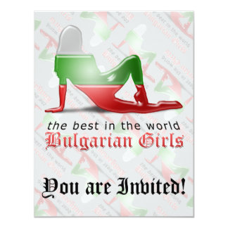"Bulgarian Girl Silhouette Flag 4.25"" X 5.5"" Invitation Card"