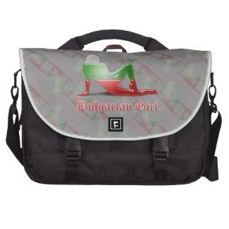 Bulgarian Girl Silhouette Flag Bags For Laptop