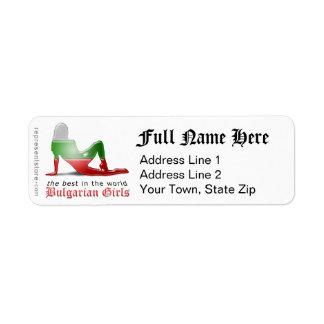 Bulgarian Girl Silhouette Flag Return Address Label