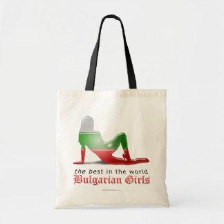 Bulgarian Girl Silhouette Flag Tote Bags