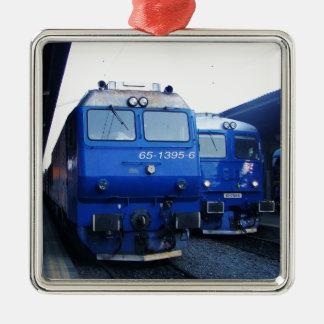 Bulgarian Train. Silver-Colored Square Decoration