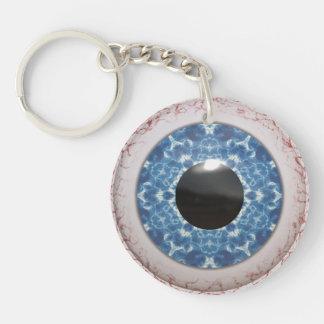 Bulging Bloodshot Blue Eye Double-Sided Round Acrylic Key Ring