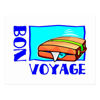 "Bulging suitcase full of luggage: ""Bon Voyage!"" Postcard"