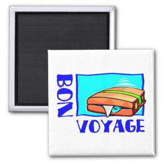 "Bulging suitcase full of luggage: ""Bon Voyage!"" Square Magnet"