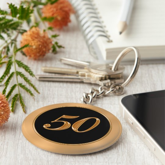BULK Cheap 50 Anniversary Keychains Gold Black