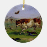 Bull Baiting (oil on paper laid on panel) Christmas Ornament